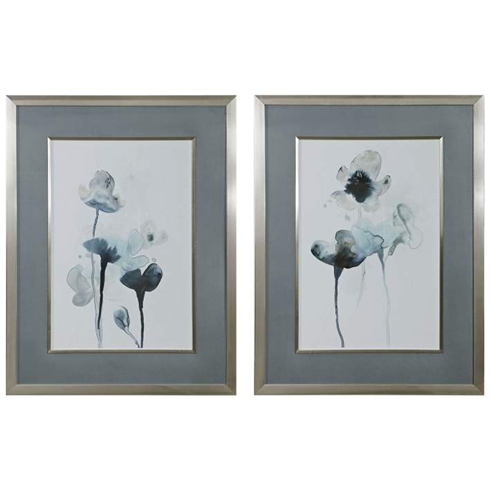 Midnight Blossoms 35 High 2 Piece Framed Wall Art Print Set 64y07 Lamps Plus