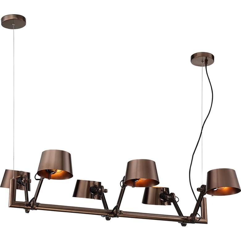 "Ravi 39 1/2"" Wide Bronze Adjustable 6-Light Island Pendant"