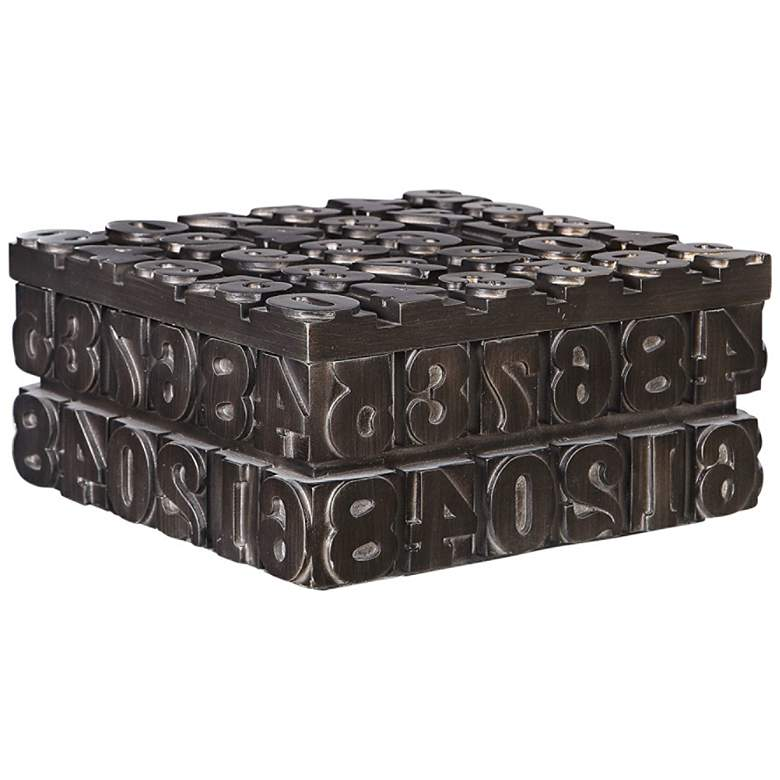 """Antiqued Bronze 11 1/4"""" Wide Vintage Typesetting Box"""
