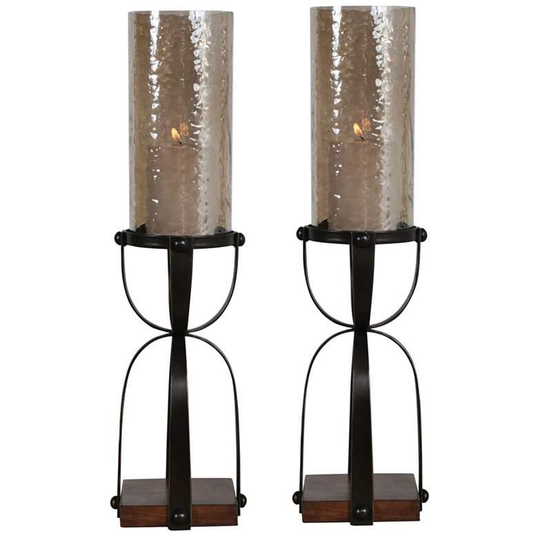 Uttermost Arka Dark Bronze Pillar Candle Holders Set of 2