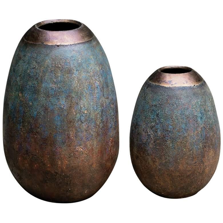 Uttermost Pavak Textured Terracotta Vases Set of 2