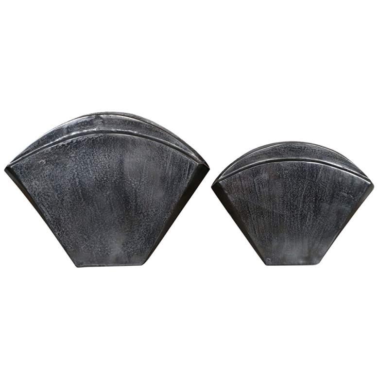 Uttermost Filip Dark Nickel Fan-Shaped Metal Vases Set of 2