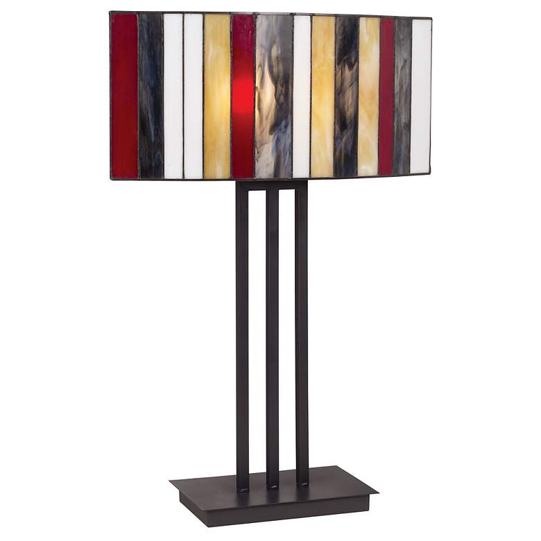 Striped Art Glass Iron Base Table Lamp