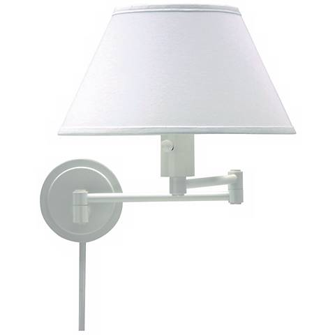 White Round Backplate Plug-In Swing Arm Wall Lamp