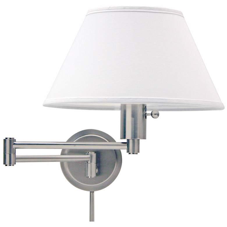 Satin Nickel Round Backplate Plug-In Swing Arm Wall Lamp