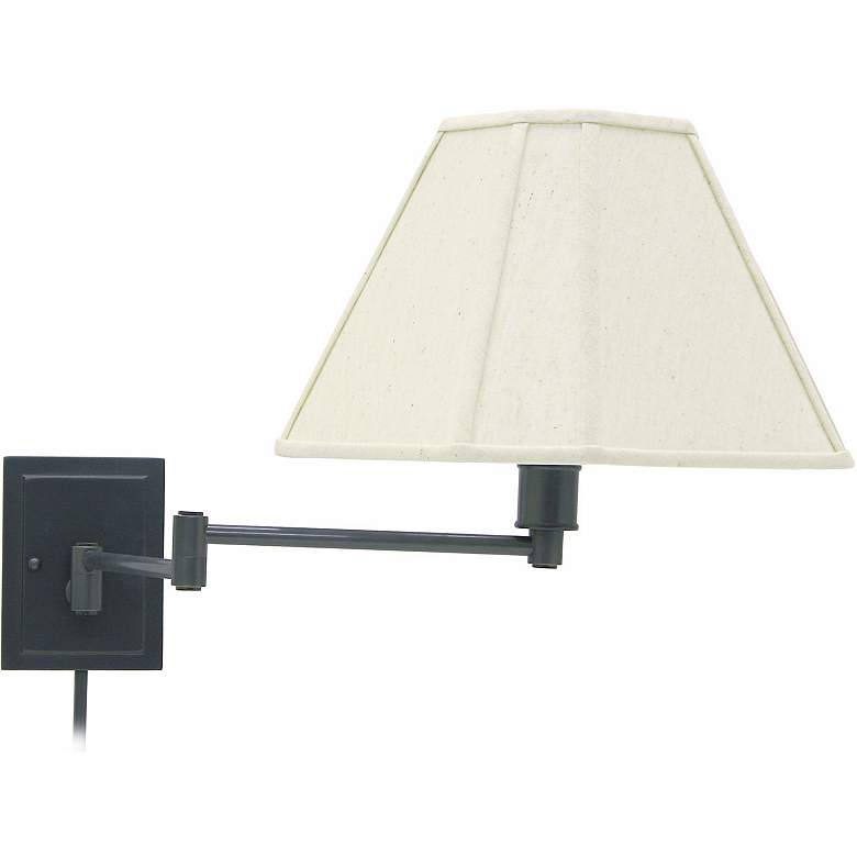 Rubbed Bronze With Beige Shade Plug-In Swing Arm