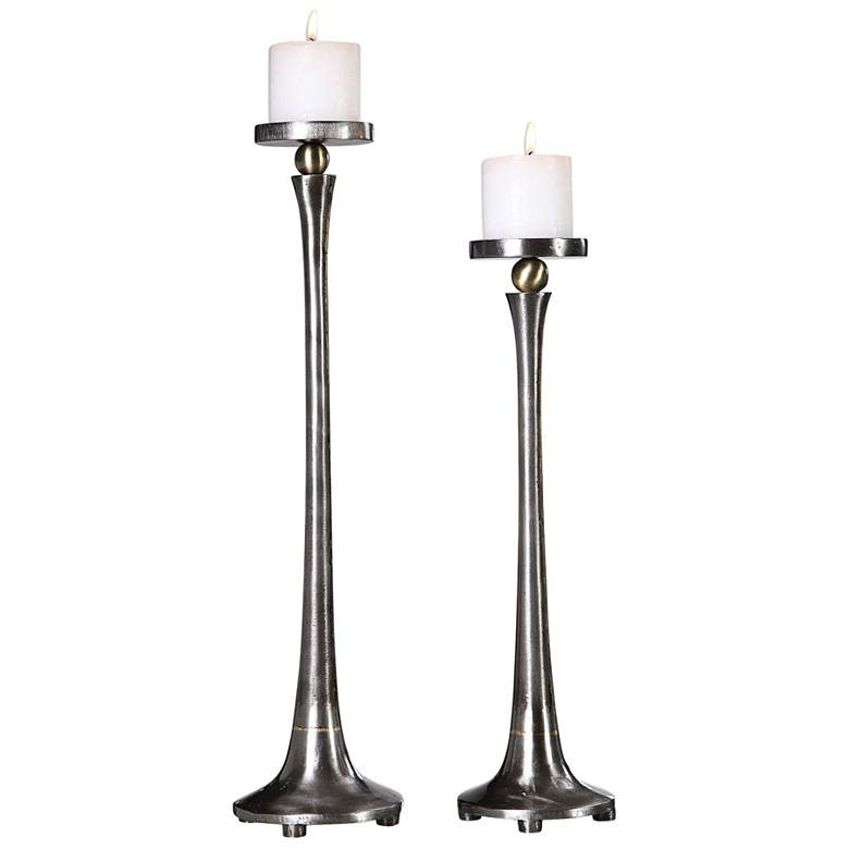 Uttermost Aliso Silver Tapered Candle Holders Set of 2