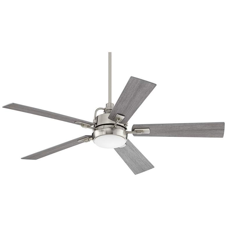 "60"" Casa Vieja Lemans Brushed Nickel LED Ceiling Fan"