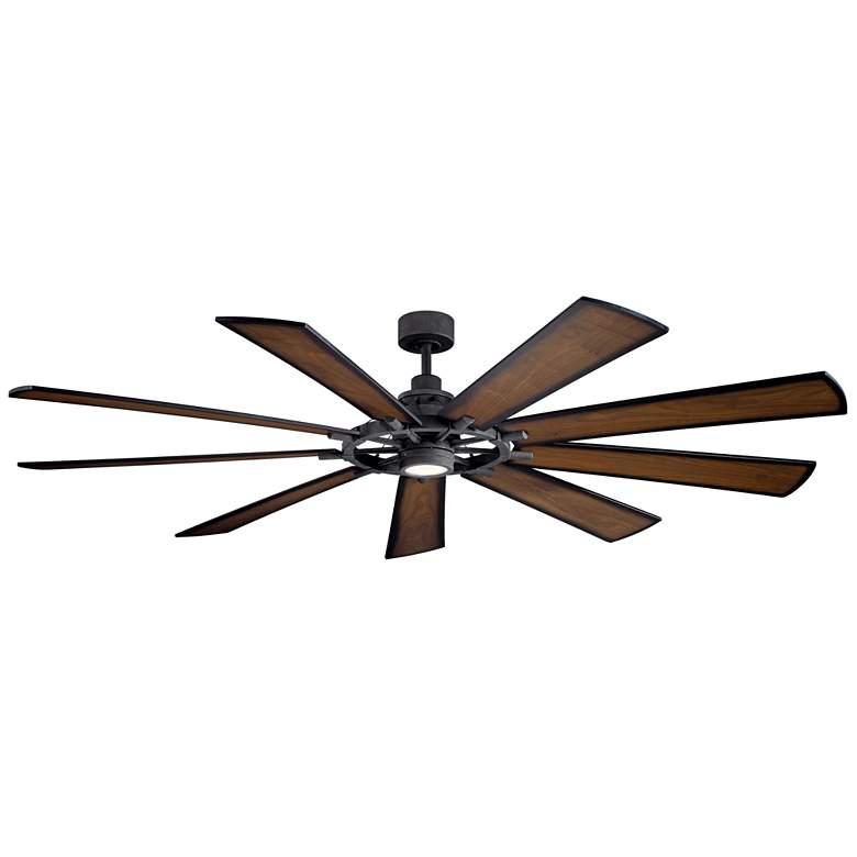 """85"""" Kichler Gentry XL Distressed Black LED Wagon Wheel Ceiling Fan"""