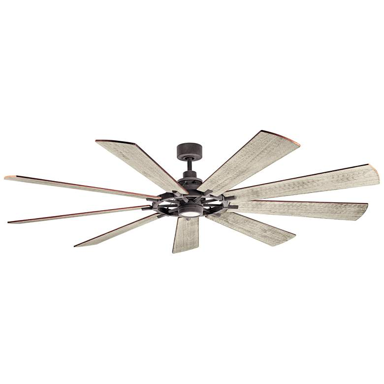 "85"" Kichler Gentry XL Weathered Zinc LED Ceiling Fan"