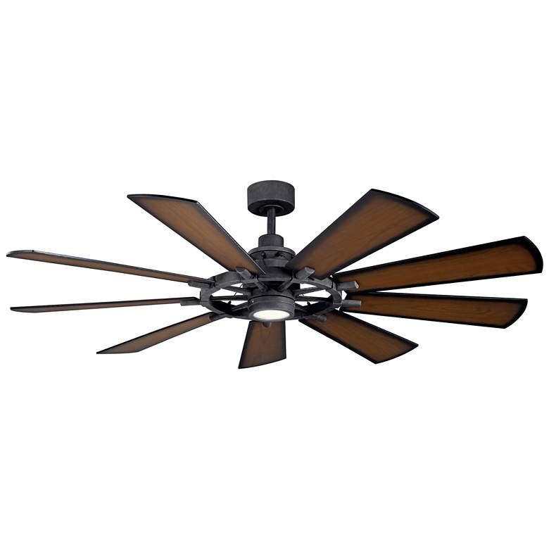 "65"" Kichler Gentry Distressed Black LED Ceiling Fan"