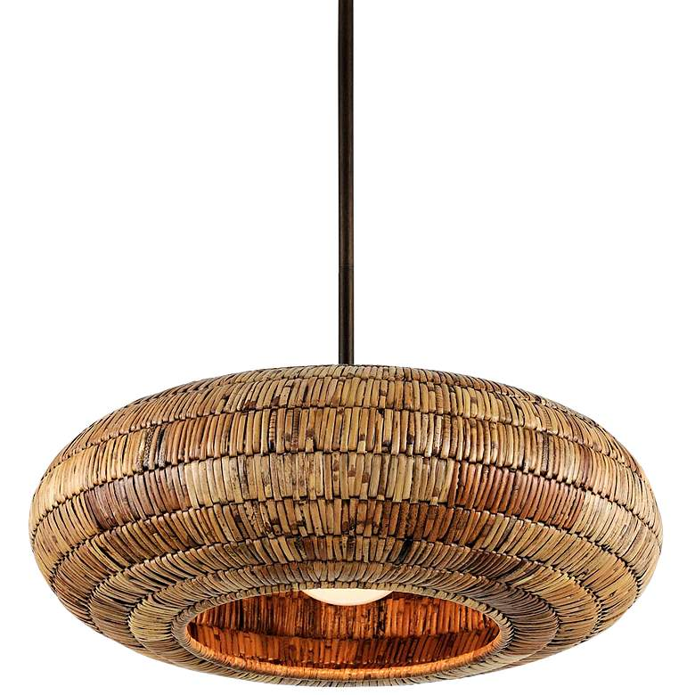"""Breuer 24""""W Bronze Pendant Light with Natural Malacca Shade"""