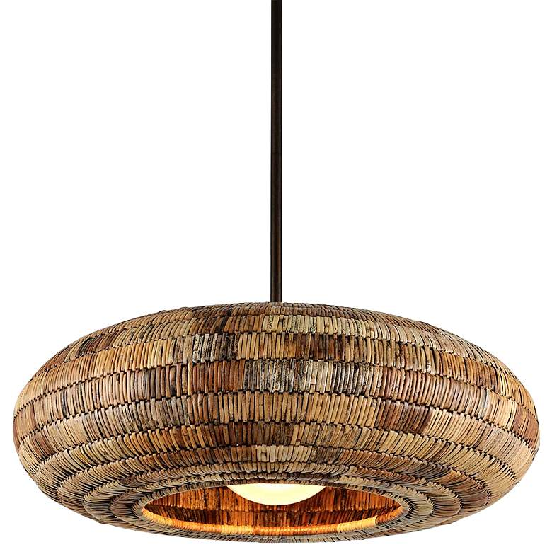 "Breuer 32""W Bronze Pendant Light with Natural Malacca Shade"