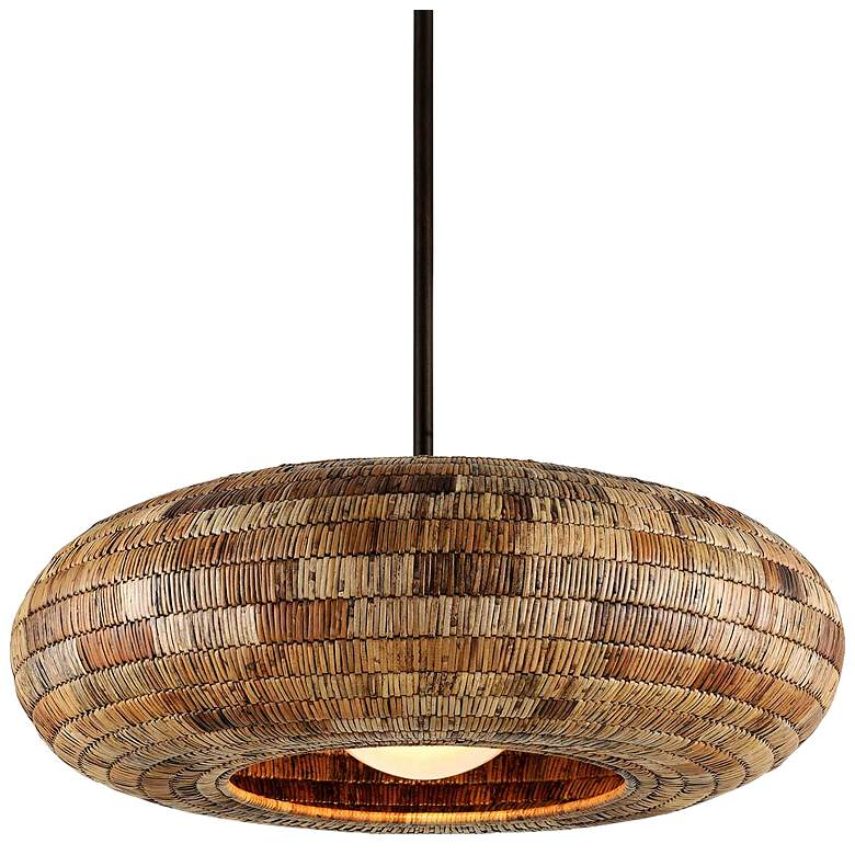 """Breuer 39 3/4""""W Bronze Pendant with Natural Malacca Shade"""