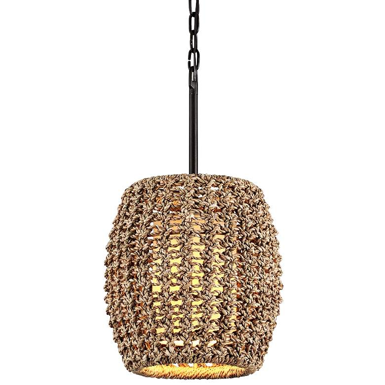 "Conga 12"" Wide Tidepool Bronze Mini Pendant with Rope Shade"