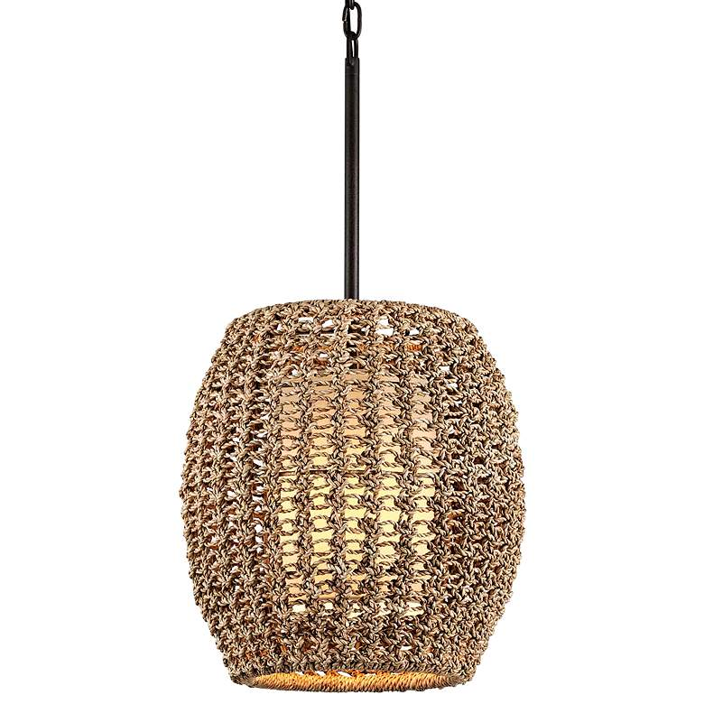 "Conga 17"" Wide Tidepool Bronze Pendant Light with Rope Shade"