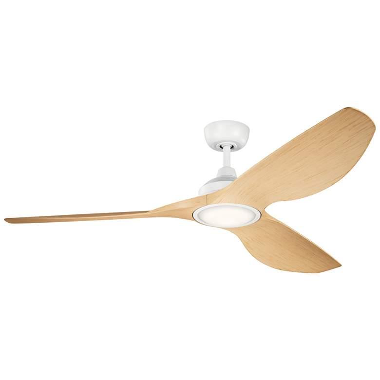 """65"""" Kichler Imari Light Oak and Matte White LED Ceiling Fan"""