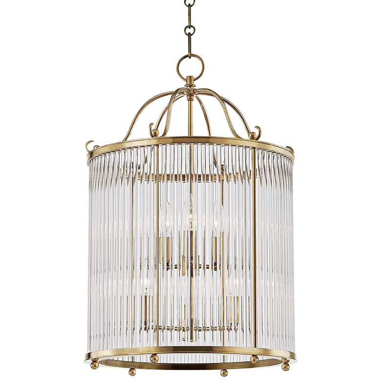 """Glass No.1 17 1/2"""" Wide Aged Brass and Crystal Pendant Light"""