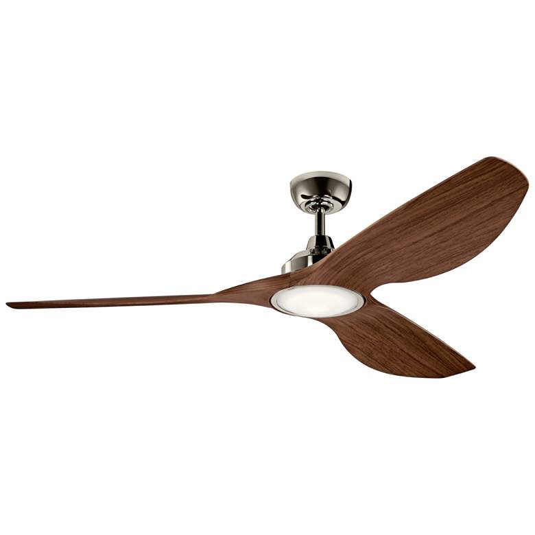 "65"" Kichler Imari Walnut and Polished Nickel LED Ceiling Fan"