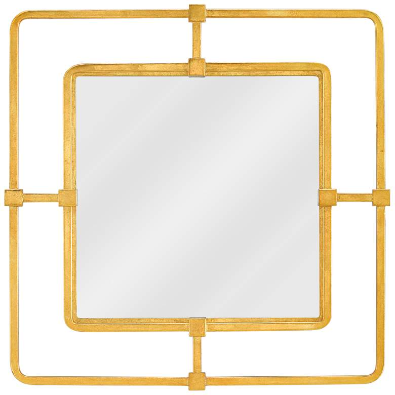 """Currey and Company Metro Gold 22 1/2"""" Square Wall Mirror"""