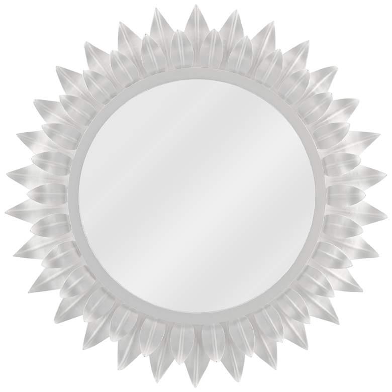 """August White Gesso Sunburst Motif 22 1/2"""" Round Wall Mirror"""