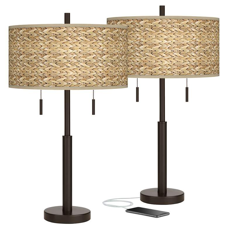 Seagrass Print Robbie Bronze USB Table Lamps Set of 2