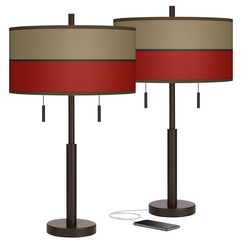 Empire Red Robbie Bronze USB Table Lamps Set of 2