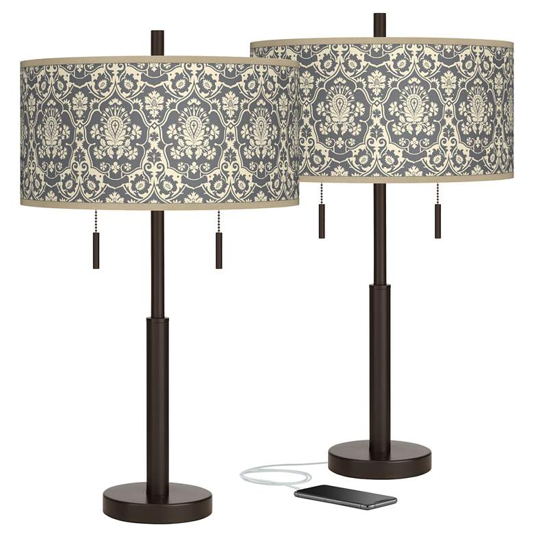 Damask Robbie Bronze USB Table Lamps Set of