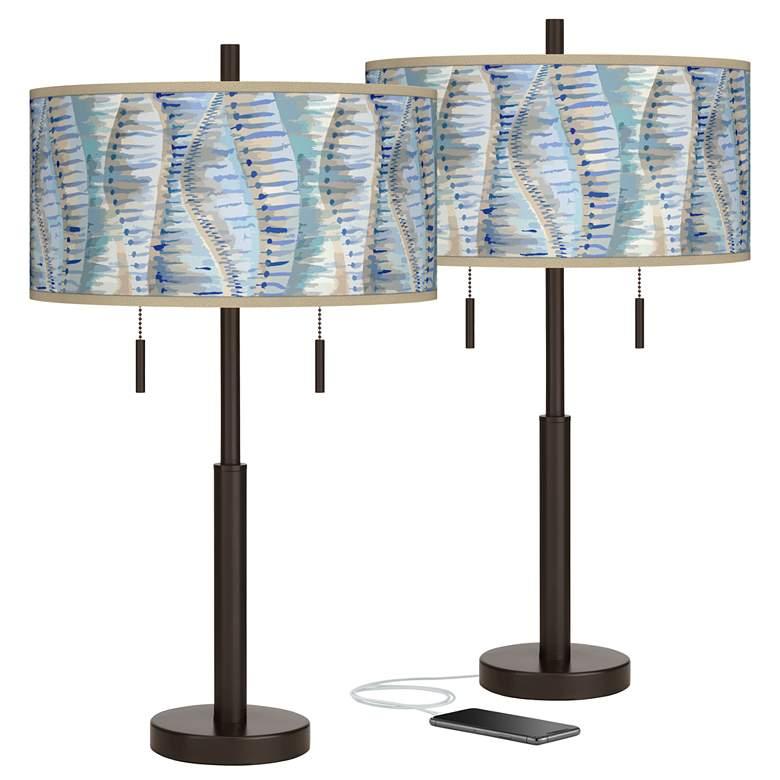 Siren Robbie Bronze USB Table Lamps Set of 2
