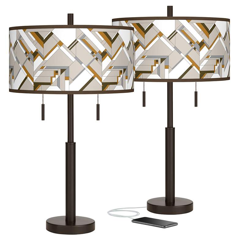 Craftsman Mosaic Robbie Bronze USB Table Lamps Set