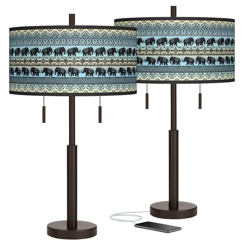 Elephant March Robbie Bronze USB Table Lamps Set