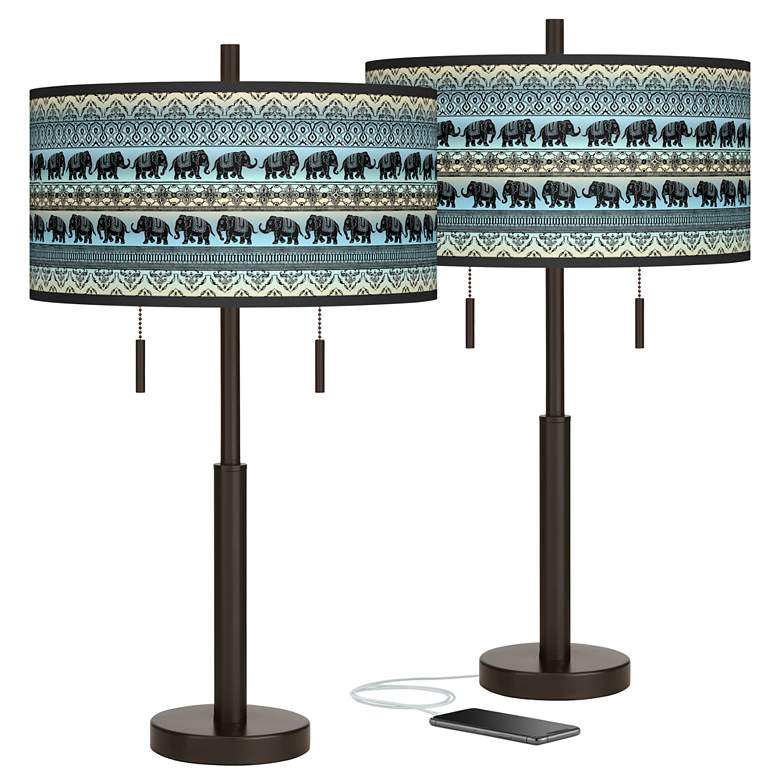 Elephant March Robbie Bronze USB Table Lamps Set of 2