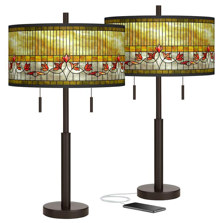 Tiffany-Style Lily Robbie Bronze USB Table Lamps Set of 2