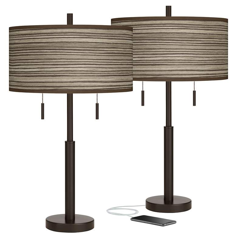 Cedar Zebrawood Robbie Bronze USB Table Lamps Set of 2