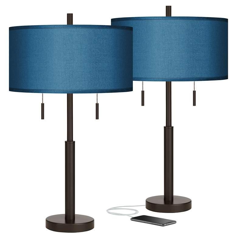 Blue Faux Silk Robbie Bronze USB Table Lamps