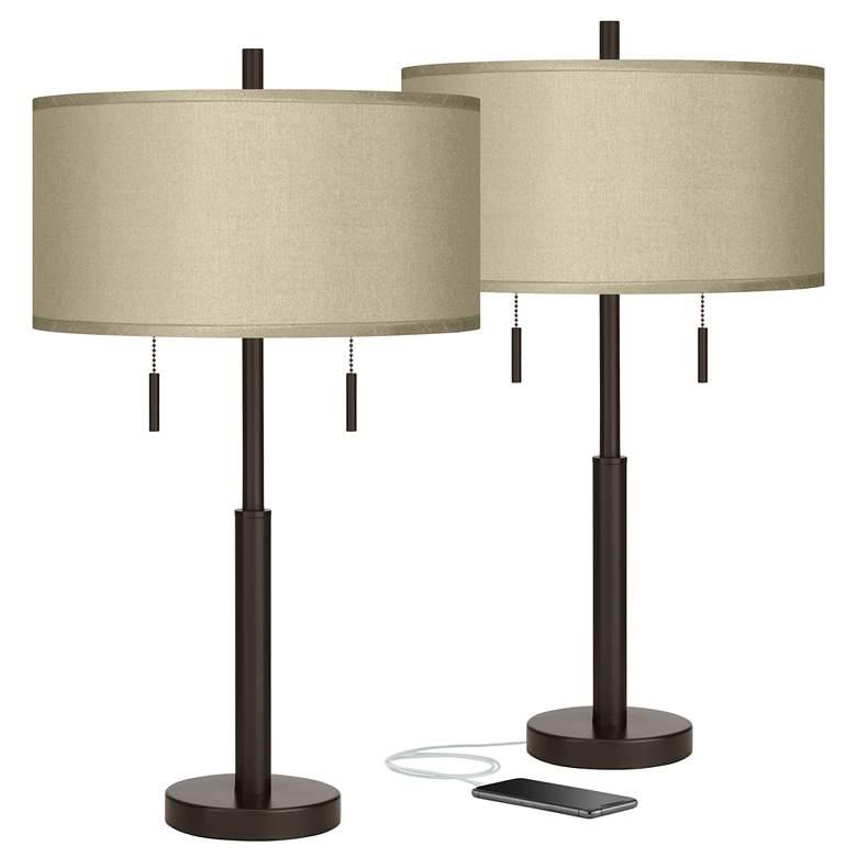 Sesame Faux Silk Robbie Bronze USB Table Lamps Set of 2