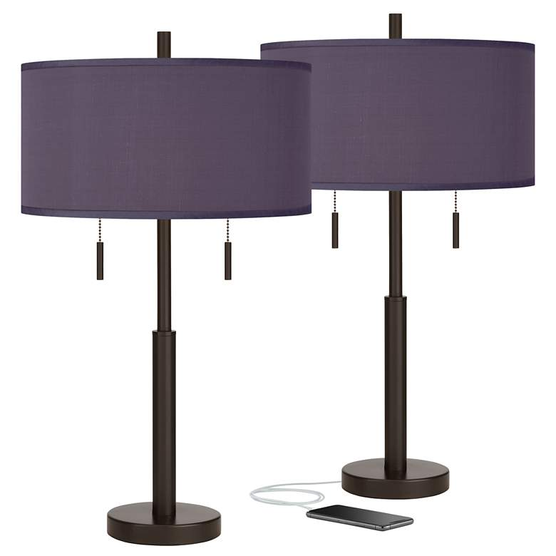 Eggplant Faux Silk Robbie Bronze USB Table Lamps