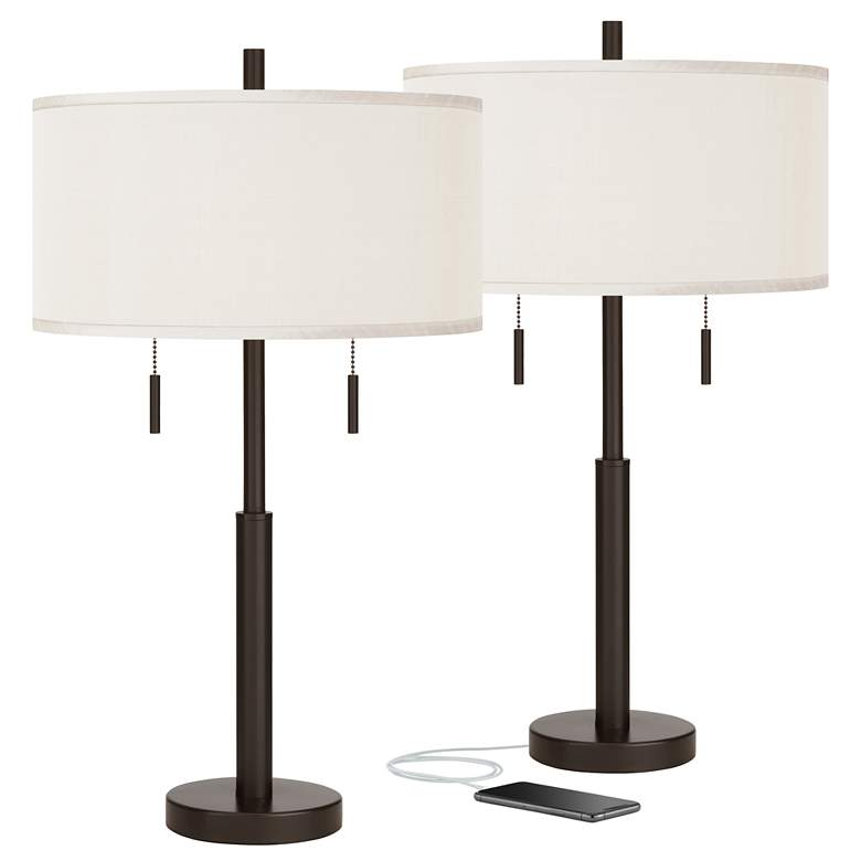 Cream Faux Silk Robbie Bronze USB Table Lamps Set of 2