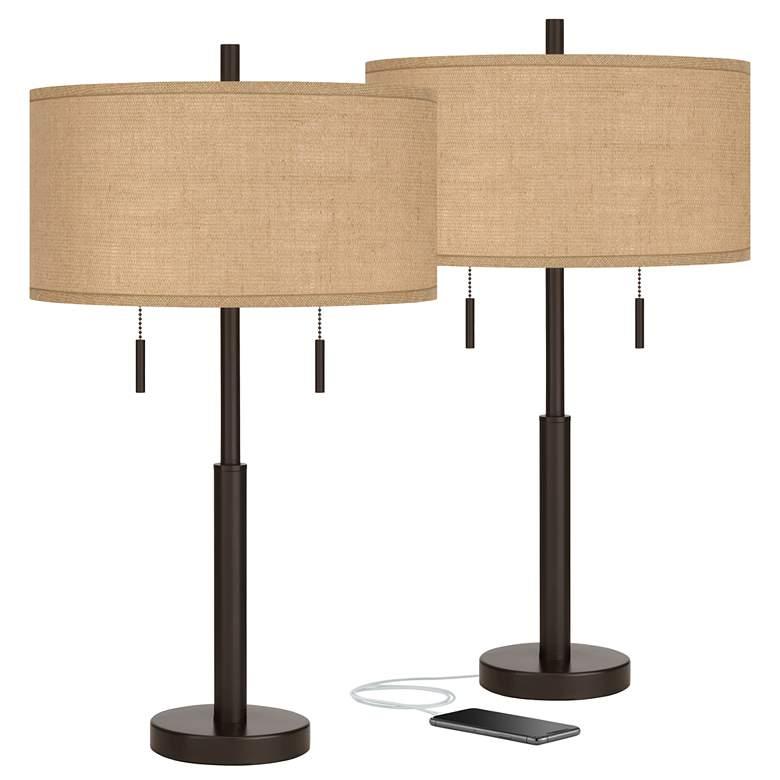 Burlap Shade Robbie Bronze USB Table Lamps Set
