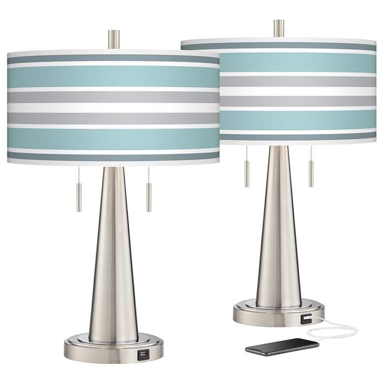 Multi Color Stripes Vicki Nickel USB Table Lamps Set of 2