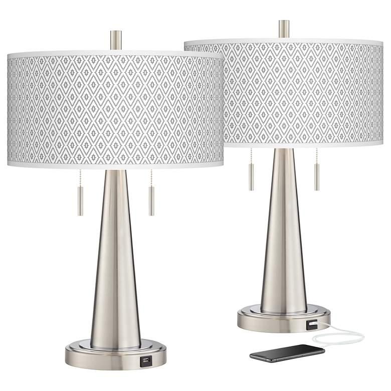 Diamonds Vicki Brushed Nickel USB Table Lamps Set