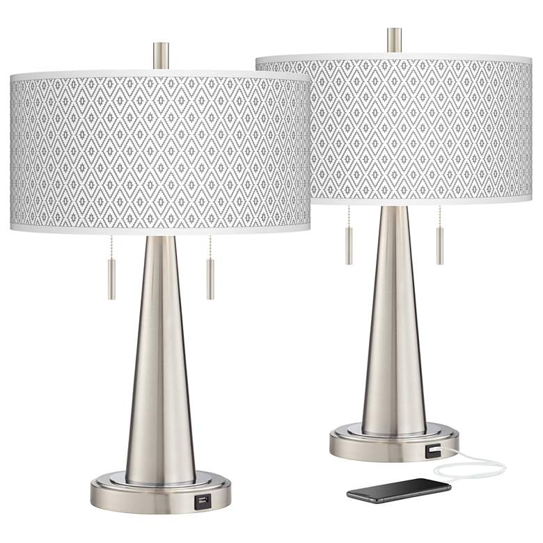 Diamonds Vicki Brushed Nickel USB Table Lamps Set of 2