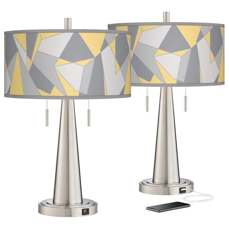 Modern Mosaic II Vicki Nickel USB Table Lamps Set of 2