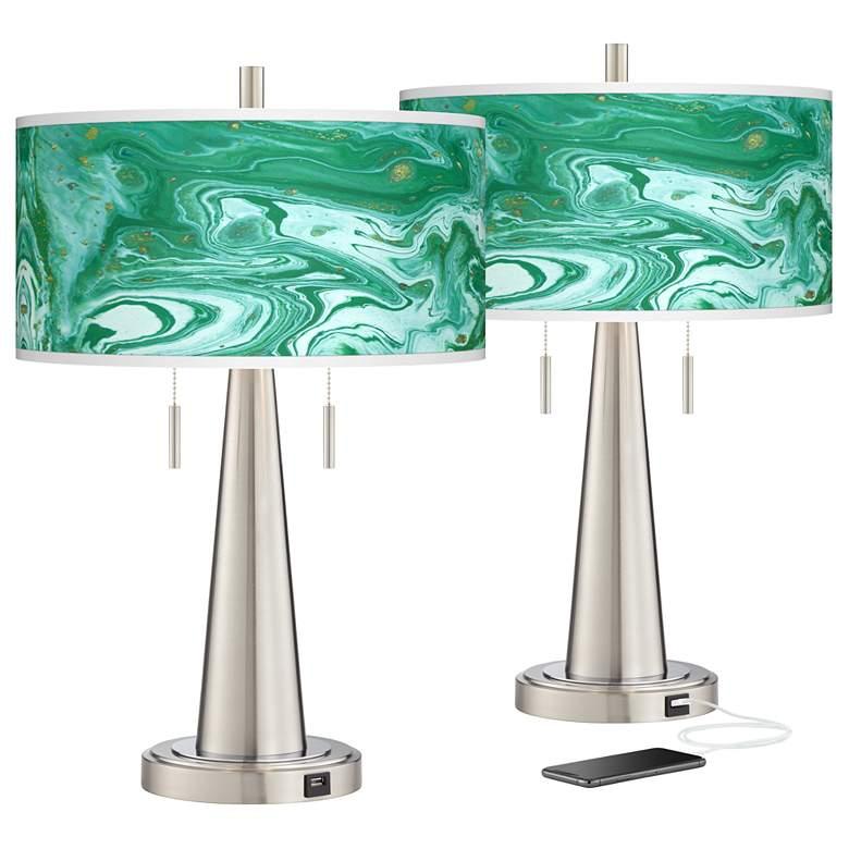 Malachite Vicki Brushed Nickel USB Table Lamps Set of 2