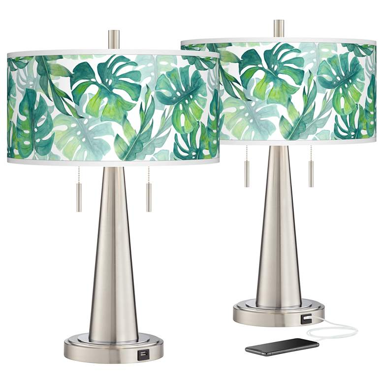 Tropica Vicki Brushed Nickel USB Table Lamps Set of 2