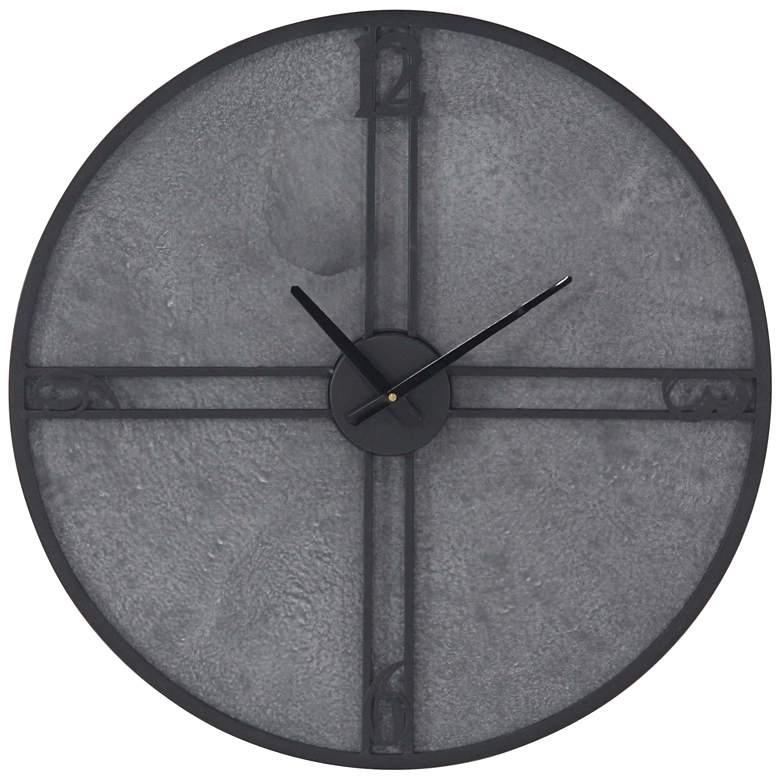 "Medio Black and Gray 24"" Round Iron Wall Clock"