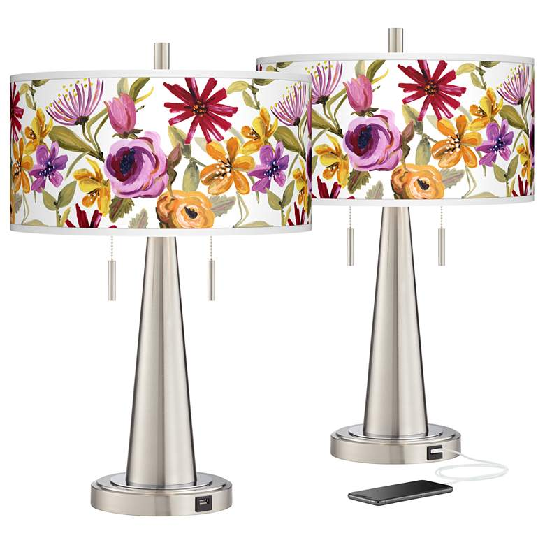 Bountiful Blooms Vicki Nickel USB Table Lamps Set