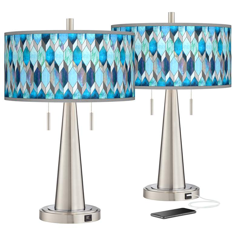 Blue Tiffany-Style Vicki Brushed Nickel USB Table Lamps Set of 2