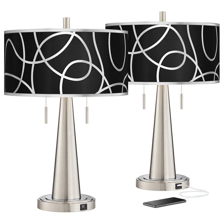 Abstract Silver Metallic Vicki Nickel USB Table Lamps