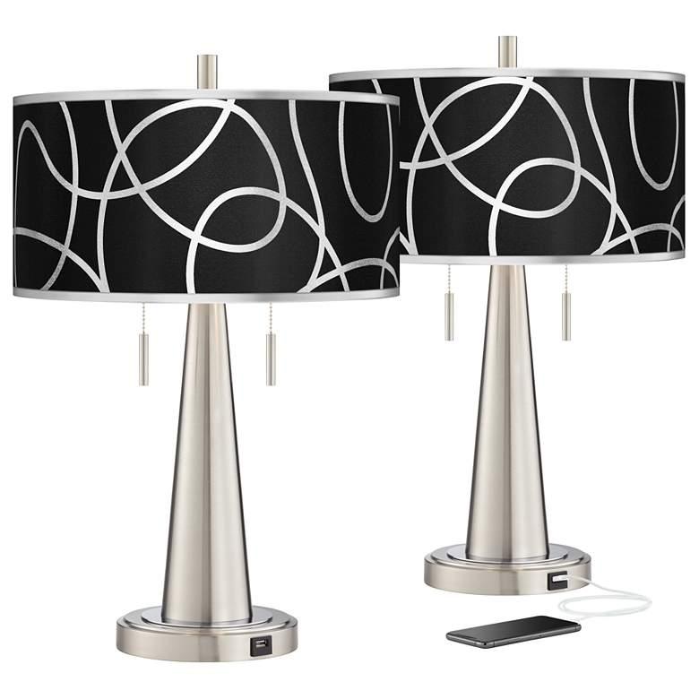 Abstract Silver Metallic Vicki Nickel USB Table Lamps Set of 2